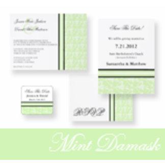 Mint Damask Wedding Invitations
