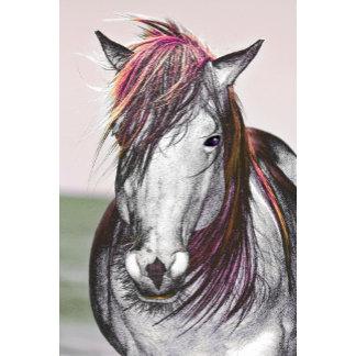 White Horse Pink Hair Art Design