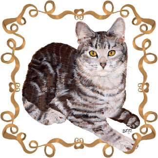 Tabby Cat Mocha Ribbon