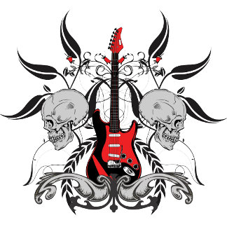 Grunge Guitar Skull