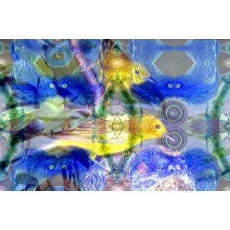 Nature Reflections I - Gold & Blue Birds