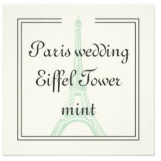 Paris Wedding Eiffel Tower mint
