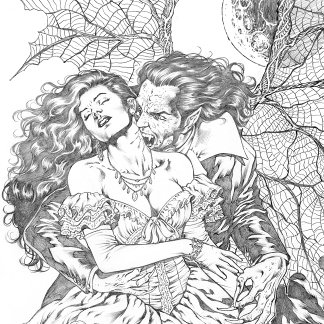 Vampire's Kiss by Al Rio Vampire Femme Fatale Art