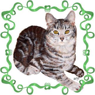 Tabby Cat Green Ribbon