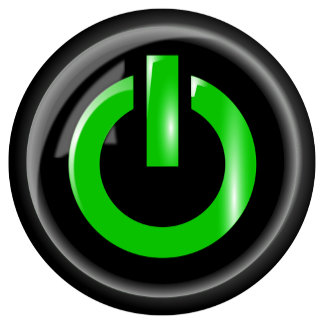 Green On Power Button - Black