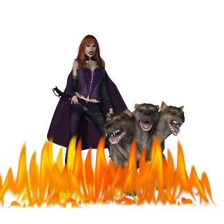 Purple Dress Vampire Three Headed Dog and Fire