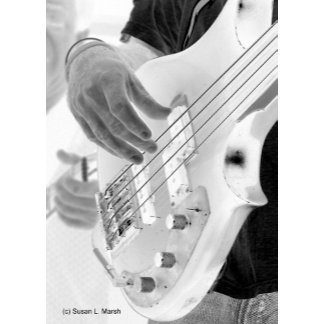 Four string bass player photo, hand and string b/w
