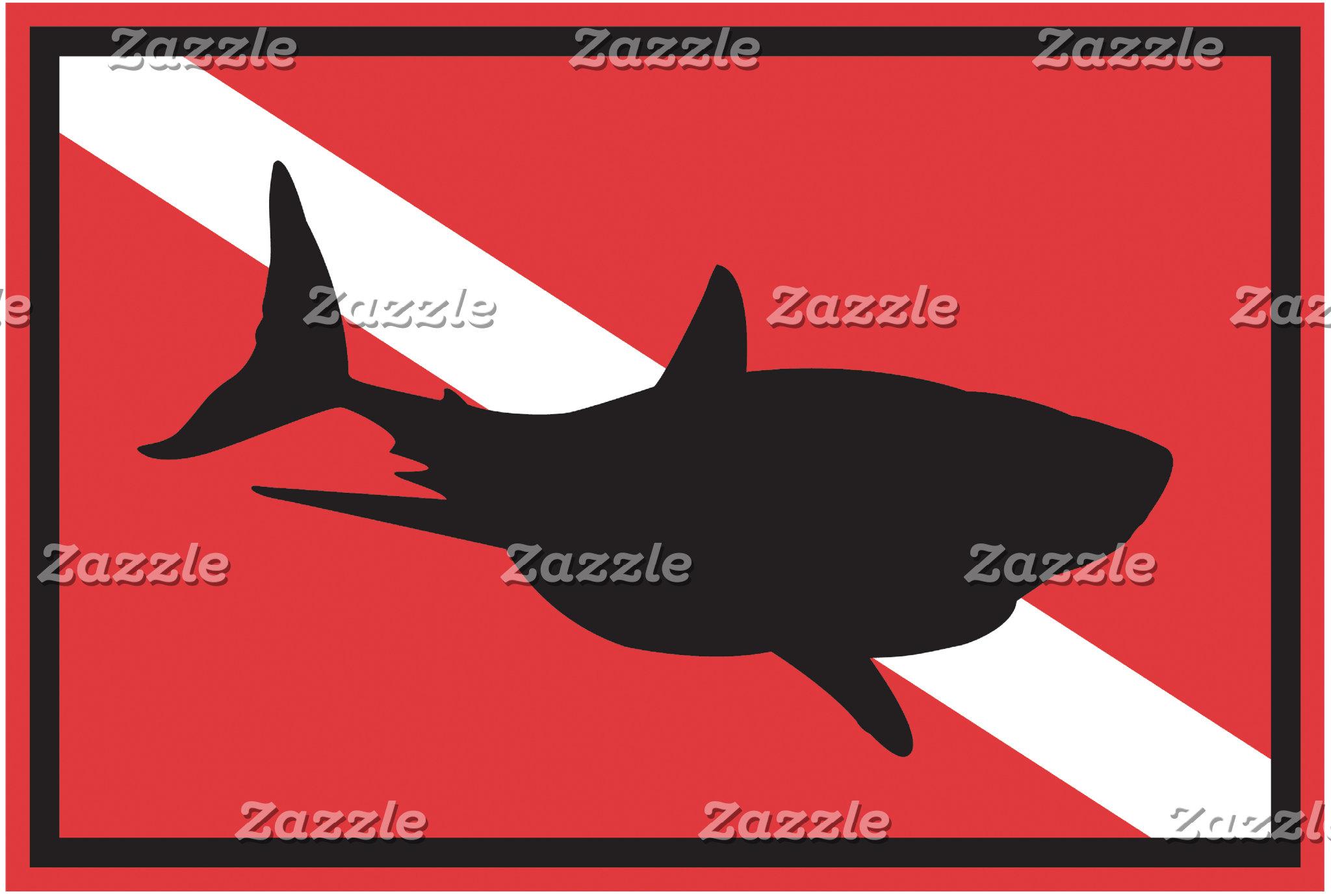 Shark Diving Flag T-Shirt Gifts