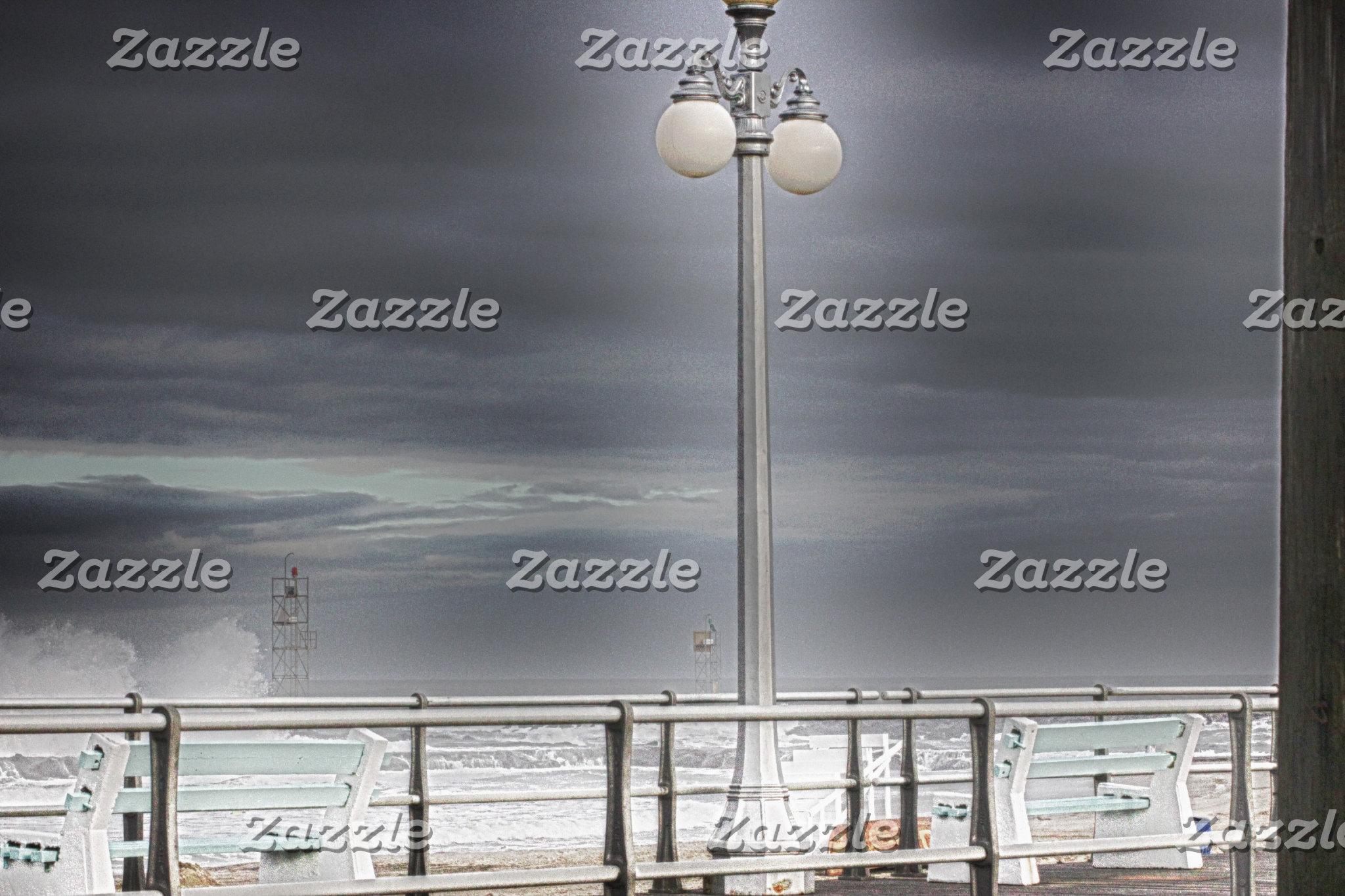 Beach Boardwalk Lamp Post Ocean Background HDR