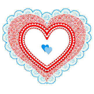 Blue Red Lacy Love Heart