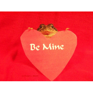 "Toad frog red heart ""Be Mine"" design, love picture"