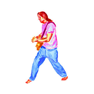acoustic guitar player pink shirt  jeans