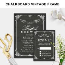 Invitation Suite: Elegant Chalkboard Vintage Frame