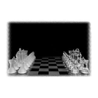 Black & White Spooky Glass Chess Board Game