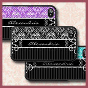Striped Damask iPhone 4 Cases With Your Name