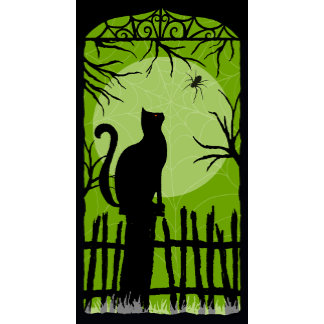 Halloween Black Cat on Fence