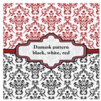 Black, white, red damask pattern