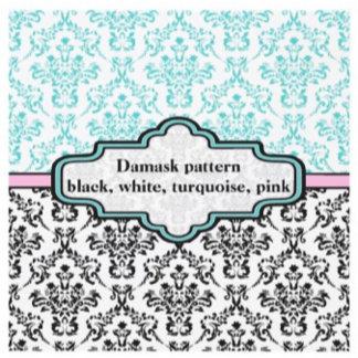 Black, white, turquoise, pink damask pattern