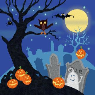 Halloween Cute Graveyard Scene