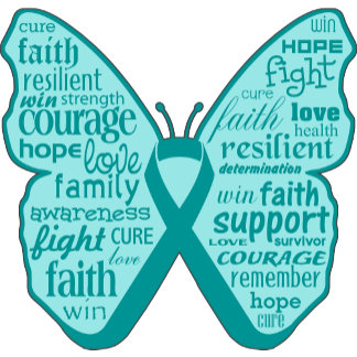 Ovarian Cancer Butterfly Collage of Words