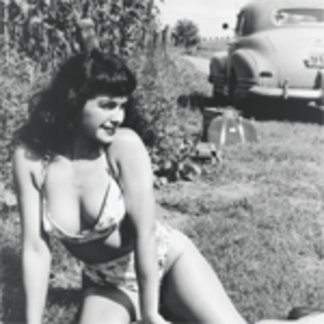 Bettie Page Picnic Pinup with Vintage American Car