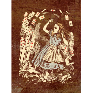 Vintage Alice Flying Cards Sepia