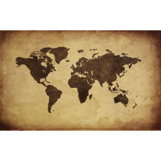 Close up of antique world map 3