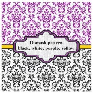 Black, white, purple, yellow damask pattern