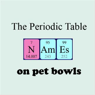 Periodic table pet bowls
