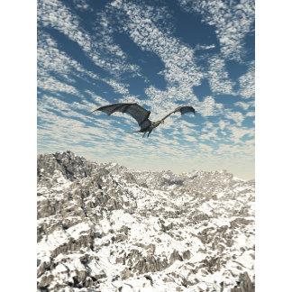 Grey Dragon Flying over the Mountains