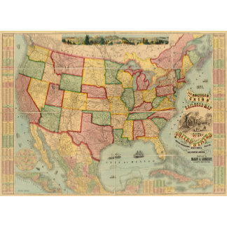 American Union Railroad Map of The United States