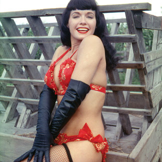 Bettie Page Pinup with Long Black Leather Gloves