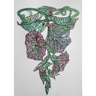 Vintage Style Stained Glass Morning Glory