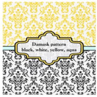 Black, white, yellow, aqua damask pattern