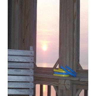 Beach Sunset Scene with Horseshoes