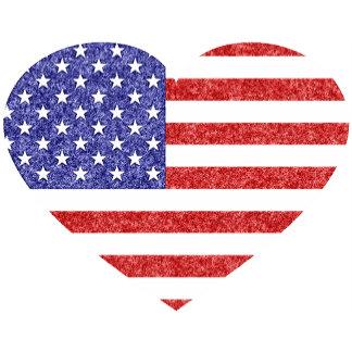 Crayon Style USA Heart Shape Flag