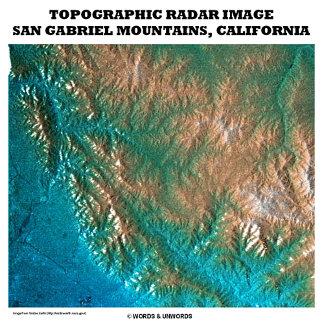 Topographic Radar Image San Gabriel Mountains CA