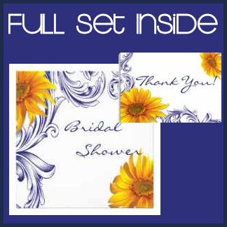 Ornate Royal Blue and Yellow Sunflowers Collection