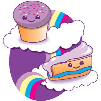 Cupcake and slice on a rainbow