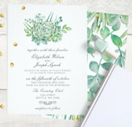 Sensational Succulents Wedding Invites