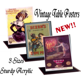 NEW Vintage Acrylic Table Top Posters