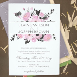 Purple FloralFloral Spring Wedding invitations Set