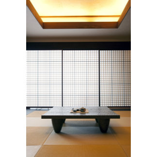 with wooden table and modern style tatami :
