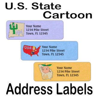 Address Label ~ U.S. State Map Cartoon Template