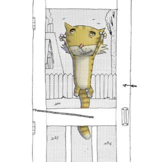 """""""Cat on Screen Door poster print"""""""