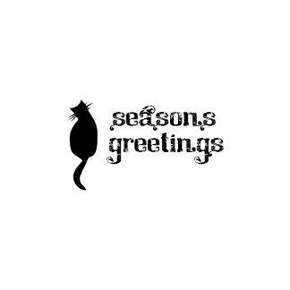 Season's Greetings Black Cat
