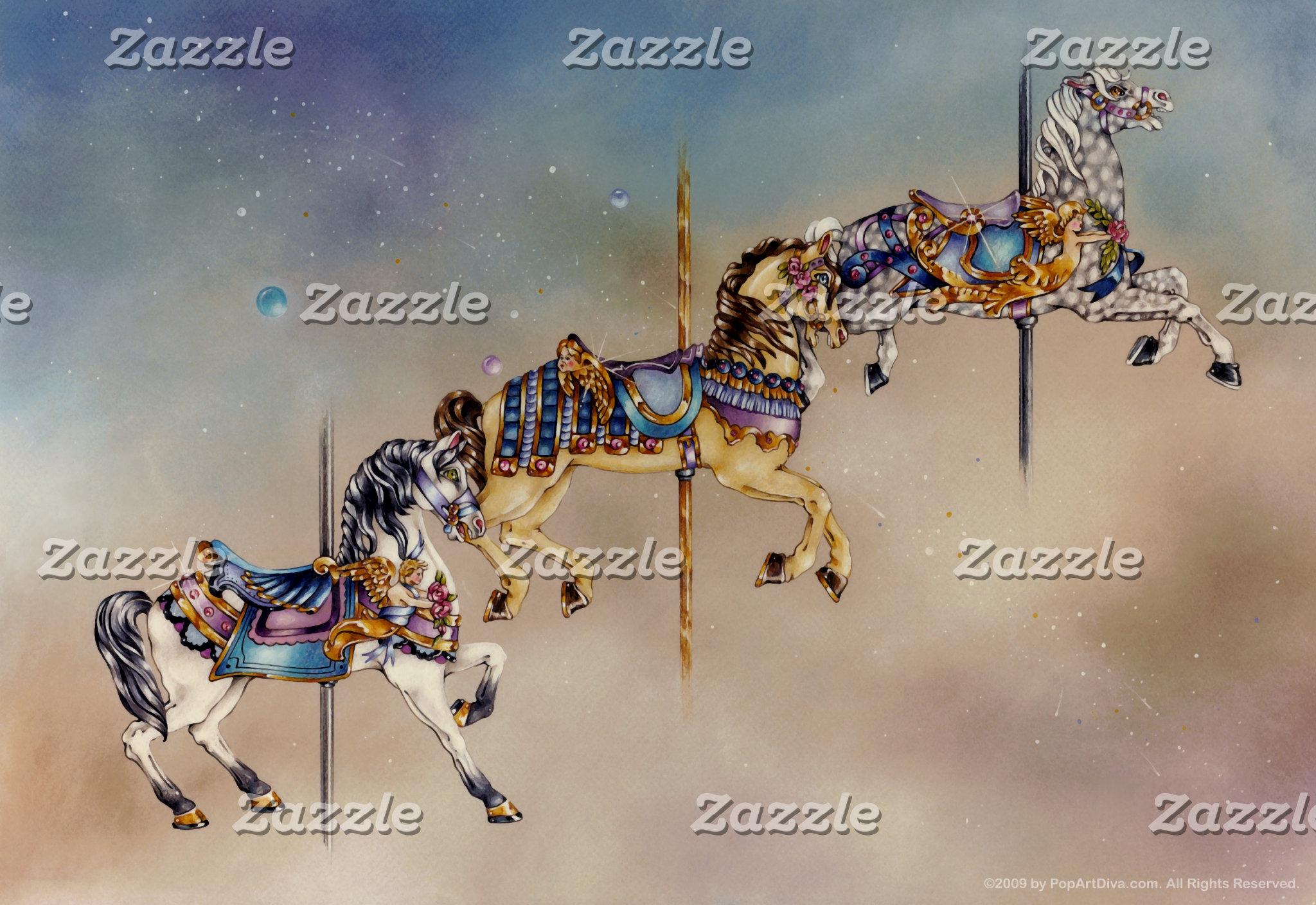 Three Carousel Horses