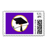 Graduation Cap wDiploma - Purple Background Postag