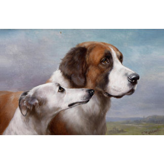 Vintage St. Bernard & Greyhound painting