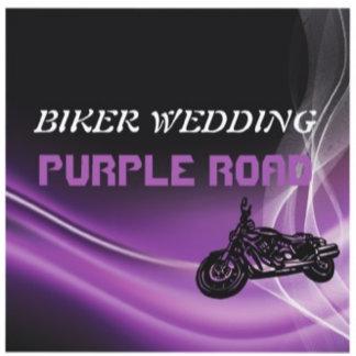 Biker wedding, purple road